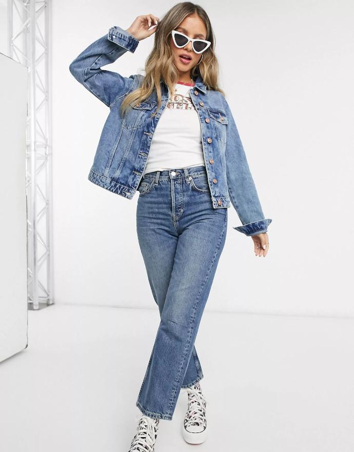 Giacca di jeans blu Pieces