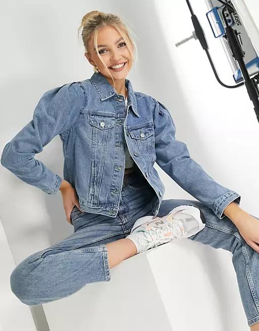 Giacca di jeans con maniche a sbuffo Urban Bliss
