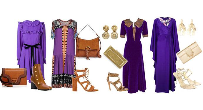 come abbinare l'abito viola ultra violet