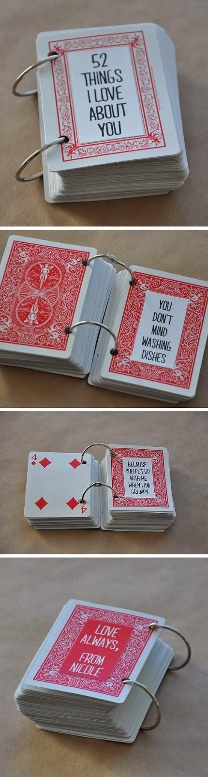 Mazzo di carte con messaggi romantici per San Valentino - fonte Pinterest