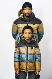 Blauer piumini uomo e bambino