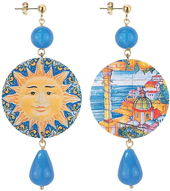 Lebole Gioielli Orecchini in ottone e pietra azzurra