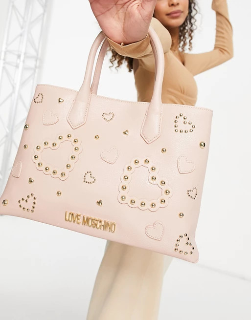 Love Moschino Maxi borsa rosa con motivo in rilievo