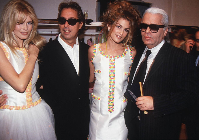 Claudia Schiffer, Cindy Crawford, Karl Lagerfeld